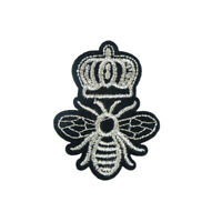silvery crown bee patches embroidery applique clothes craft sew on NT