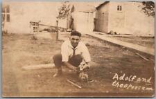 "Vintage Rppc Real Photo Postcard ""Adolf and the Opossum"" Farm Scene 1916 Cancel"