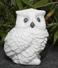Steinfigur Eule Antik-Weiss Vögel Gartenfigur Dekofigur Steinguss frostfest