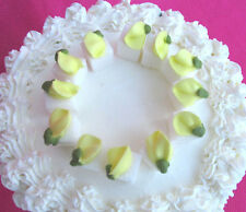 16  - White Sugar Cubes Yellow Rosebuds Icing Cake & Cupcake Toppers & Tea Party