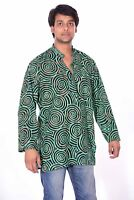 Indian Men's Round Print Kurta 100% Pure Cotton Shirt Green Color Plus Size