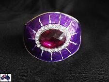 Womens Cuff Bracelet  Silver Purple Rhinestone