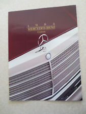 1984 Mercedes cars paint colour chart brochure