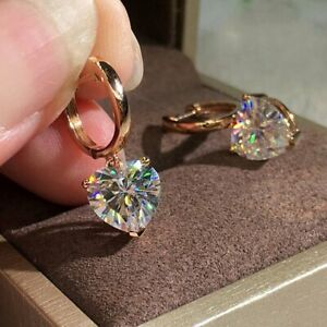 Zircon Heart Dangle Drop Hoop Earrings Crystal CZ Earrings Elegant Women Jewelry