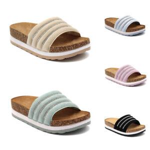 Damen Plateau Pantoletten Sommer Sandaletten Sandalen Strass Freizeitschuhe