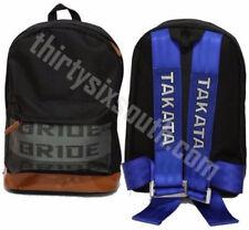 JDM Bride Racing Backpack with Racing Harness Shoulder Straps BLUE & Brown Trim