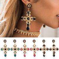 Women Baroque Style Luxury Crystal Gold Cross Large Long Dangle Earrings
