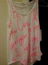 """Under Armour, Sz: Large, White Tank Top, """"Power in Pink"""" with HeatGear, Loose"""
