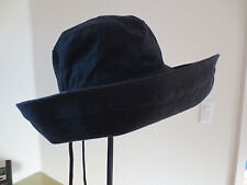 NEW Nordstrom Coton Canvas Wide Brim, Adjustable Crushable Sun Hat, Black, OS