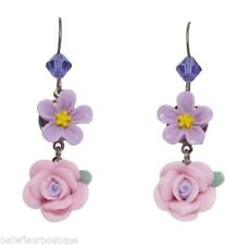 Tarina Tarantino Heritage Flower Earrings Pink & Lavender *Made in California*