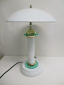 White Metal Flying Saucer Style Table Lamp