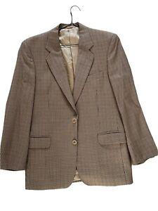 JAEGER Men's Blazer Jacket Suit Pure Wool Light Brown Dogstooth Size 48 Regular