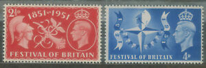 GB 1951 Festival of Britain Stamps Sc #290 & 291 MNH