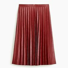 New J.Crew Faux-Leather Bright Ruby Pleated Midi Skirt - Size 00 - B5275