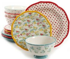 The Pioneer Woman Dot & Floral 12-piece Dinnerware Set Service for 4 FREE SHIP