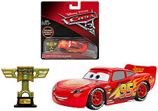 Disney Cars 3 DieCast Piston Cup Lightning McQueen 1:55 Scale with Trophy