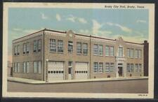 Postcard BRADY Texas/TX  Local Area Fire Department Station & City Hall 1930's