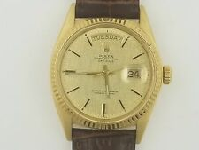 Mens Rolex President Day-Date 18k Solid Yellow Gold with Leather Band
