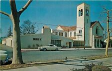 Woodland Calif~Methodist Church~1960s Car Parked in Front~Postcard