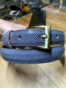 Genuine Karung Snake Skin Light Charcoal Gray Colored Belt Size 32