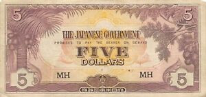 Malaya  $5  ND. 1942  Block MH  WWII Issue  Circulated Banknote LBM