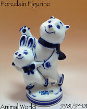 Mascot porcelain figurines Gzhel POLAR BEAR Sochi Olympics Souvenirs Russia art