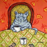 GRAY CAT COFFEE picture coaster animal gift art tile impressionism artist new