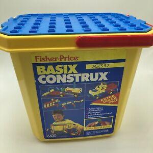 Fisher Price Basix Construx Bucket Building Bricks 6430 + Extras FIgures