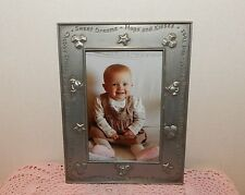 """CARR BABY PHOTO PEWTER FRAME 6"""" X 8""""~HOLDS 4"""" X 6"""" PICTURE~STARS,BLOCKS,TEDDIES"""