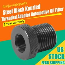 1x Black Steel 1/2-28 to 3/4-16 Oil Filter Threaded Screw Adapter New