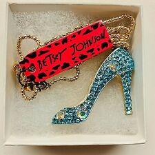 Rhinestone High Heels Pendant Betsy Johnson Blue Gold Tone