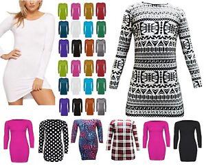 Womens long sleeve bodycon short mini dress ladies long top tunic party - LnRn