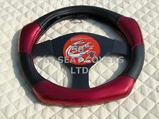 i - SUITABLE FOR A CHRYSLER JEEP, STEERING WHEEL COVER, CARBON FIBER LOOK R1 RED