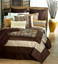 FULL - Joan Lunden Home - Kenya Leopard QUILTED SHAMs, BEDSKIRT & COMFORTER SET