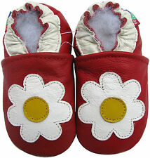 carozoo daisy red 12-18m soft sole leather baby shoes