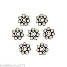 HEISHE JEWELRY DAISY SPACER BEAD ANTIQUED SILVER PEWTER 25 BEADS 5MM PW7