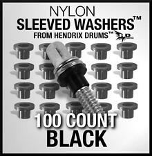 100 Black SLEEVED WASHERS from Hendrix Drums nylon tension rod hoop rim set kit