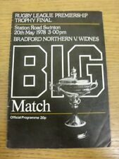 20/05/1978 Rugby League Programme: Premiership Trophy Final, Bradford Northern v