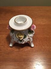 Vintage Kaiser W Germany Porcelain Candlestick Holder With Pink & yellow Roses