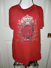 Women~JUICY COUTUIRE~RED~USA Made~LOGO~100%Cotton~Short Sleeve T-SHIRT Size M