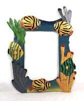 Vintage Haitian Caribbean Folk Art Metal Sculpture Tropical Fish Picture Frame