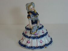 "KPM Porcelain Figurine: Young Girl in White & Blue/Gold w Flowers 6"" Marked Rare"