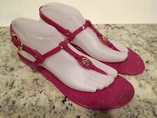 Coach Pier Jelly Sandals Ankle T-Strap Thong Beach Fuschia 8 B 38 New