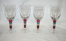 Vintage MULTI COLOR BUBBLE STEM WATER/WINE/TEA CRYSTAL GLASS SET OF 4