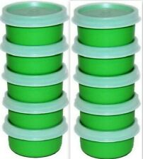 Tupperware NEW~Set of 10 Smidget Smidgets 1 Oz Mini Containers Green Sheer Seals