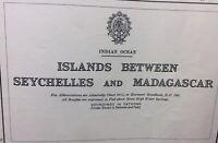 1968 ADMIRALTY SEA CHART. INDIAN OCEAN. ISLANDS - SEYCHELLES & MADAGASCAR.No.724