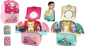 Cat Animal Vet Toy Pet Care Kit Role Play Set Grooming Feeding Games Backpack