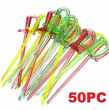 FD4737 Home Cocktail Sword Food Picks Sticks Drink Buffet Cupcake Party 50PCsΔ