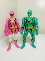 Power Rangers Mystic Force Pink & Green Rangers Action Figures Bandai 2005 Toys