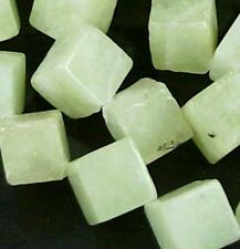 12mm Natural Serpentine New Jade Cube/Diamond Beads 16""